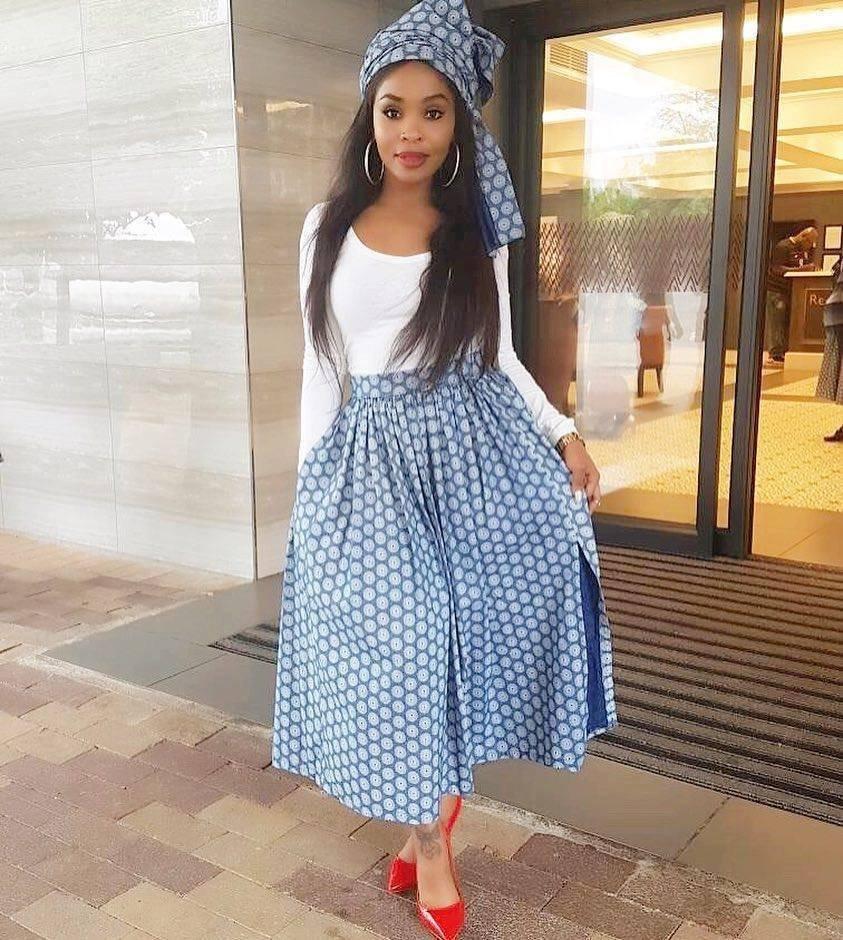 Cinderella Shweshwe Dress: Lovely Seshweshwe Skirt & Headwrap With Blue