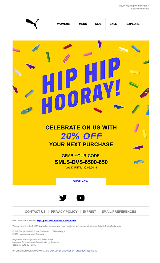 Puma's happy birthday email.