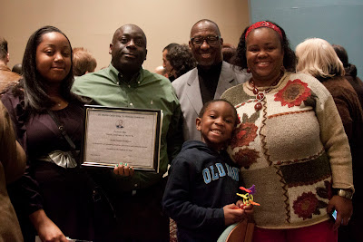 Misha Innis-Thomson of Dwight Englewood with her award and family and the very social Tyree Grant (in sweatshirt).  Photos by TOM HART.