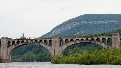 Lackawanna Cut-Off bridge and Kittatinny Mountain looking north.