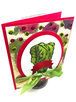 Linda Vich Creates: Gardening With Market Fresh: Part Three. A glorious head of Romaine lettuce is the featured stamp from the Market Fresh stamp set. It is dewy fresh on a vegetable-studded matte and embellished with ribbon and sequins.