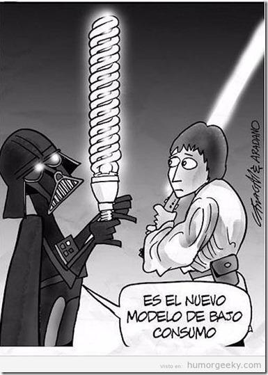 humor-grafico-viñeta-darth-vader-espada-laser-bajo-consumo