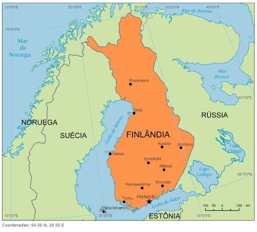 Resultado de imagem para finlandia mapa