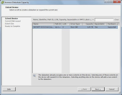 Incrementar tamaño en datastore VMware ESX