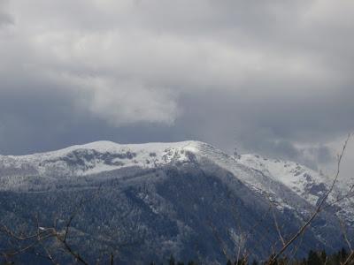 Der tief verschneite Dobratsch Gipfel