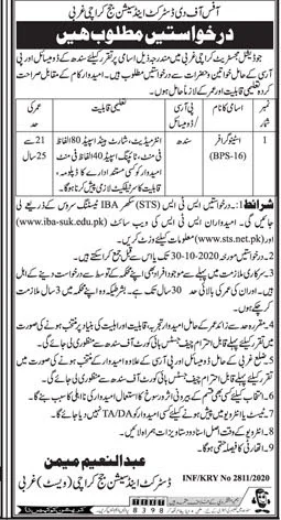 District And Session Judge Karachi Jobs October 2020