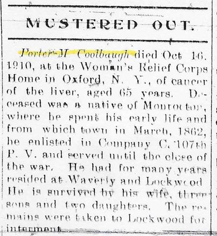 Coolbaugh Portis 1910 Obit
