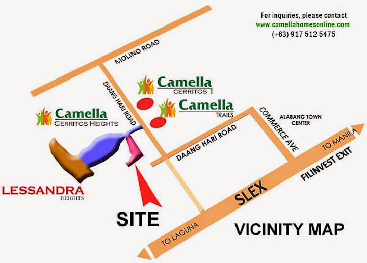 Vicinity Map of Rina - Camella Lessandra Heights | Camella Homes Prime House for Sale in Daang Hari Bacoor