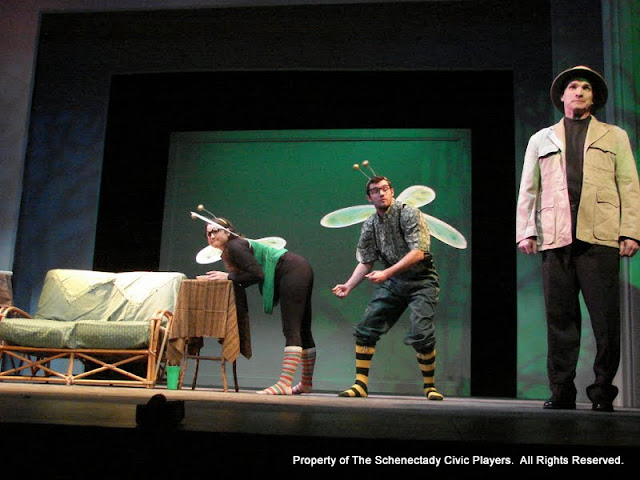 """Jennifer Van Iderstyne, Paul Dederick and Marty O'Connor in """"Time Flies"""" as part of THE IVES HAVE IT - January/February 2012.  Property of The Schenectady Civic Players Theater Archive."""
