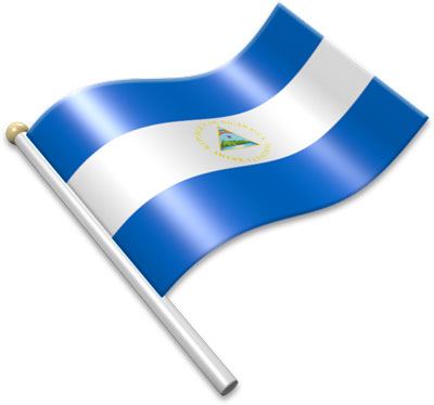 The Nicaraguan flag on a flagpole clipart image