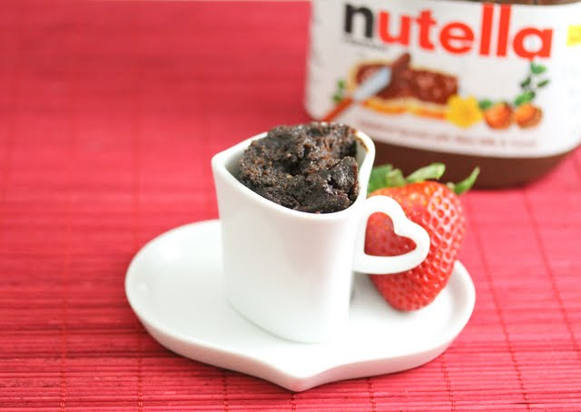 photo of flourless chocolate cake in a heart-shaped mug