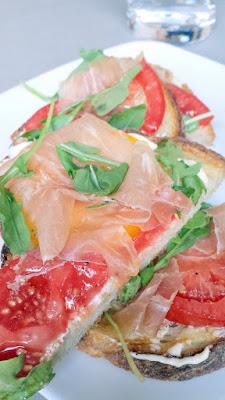 Shift Bruschetta - PLT with Prosciutto, arugula, tomato, aioli