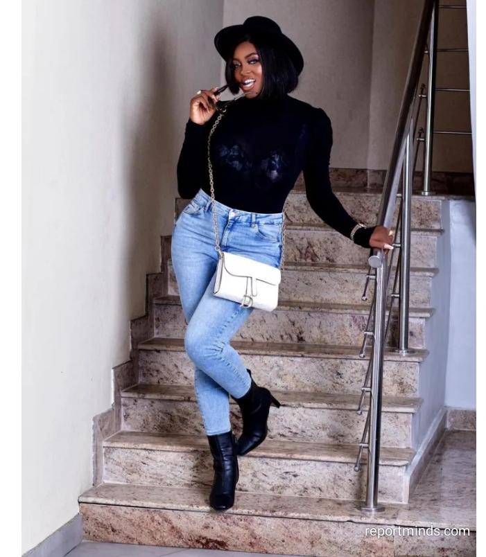 BBNaija: Ka3na Jones Looks Classy In Denim Jeans