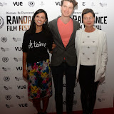WWW.ENTSIMAGES.COM -    Farhana Bhula, Matthew Hammett Knott (Director) and Tessa Peake Jones      arriving at        World Premiere of Bonobo at the 22nd annual Raindance Film Festival in Vue Piccadilly, London September 25th 2014Feature length which follows a straight laced middle-aged widow as she attempts to remove her daughter from a hippy commune.                                               Photo Mobis Photos/OIC 0203 174 1069