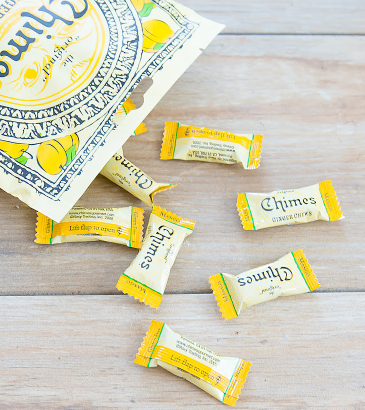 close-up photo of individually-wrapped Chimes Mango Ginger Chews