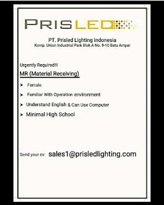 Lowongan Kerja MR Material Receiving   PT. Prisled Innovative Lighting Indonesia