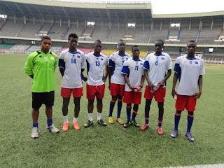Les Léopards U-20 s'entrainant au stade des Martyrs de Kinshasa