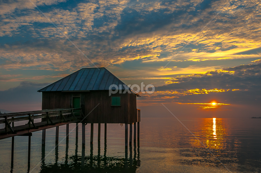 Lonely home! by Jesus Giraldo - Buildings & Architecture Homes ( water, reflection, hause, colors, sunset, solitude, lake, beauty, landscape, alone, sun, inspirational,  )