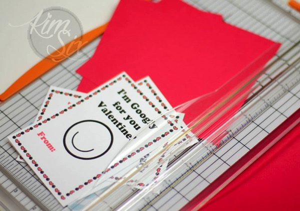 Cutting valentines on paper cutter