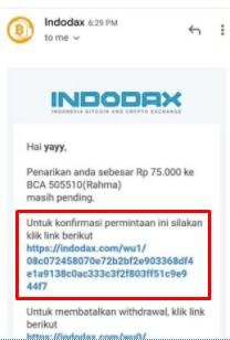 Email Konfirmasi Penarikan Saldo Indodax