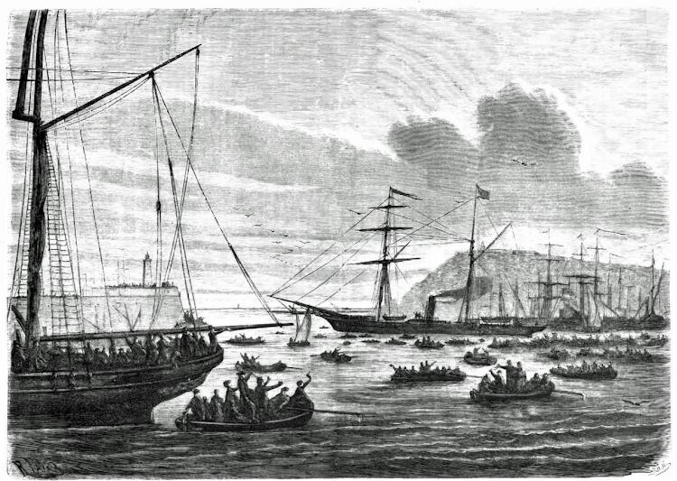 Embarque en el vapor MENORCA del duque de Montpensier. La Ilustracion Española y Americana. Año XV. Num. X. 5 de abril de 1871.png