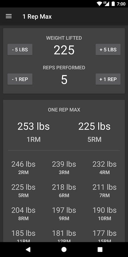 1 Rep Max Calculator- screenshot