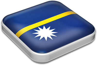 Flag of Nauru with metallic square frame
