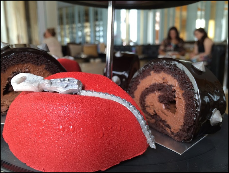 Shut Up strawberry parfait and Around in Circles chocolate roulade - Anarch Tea W Hotel Leicester Square