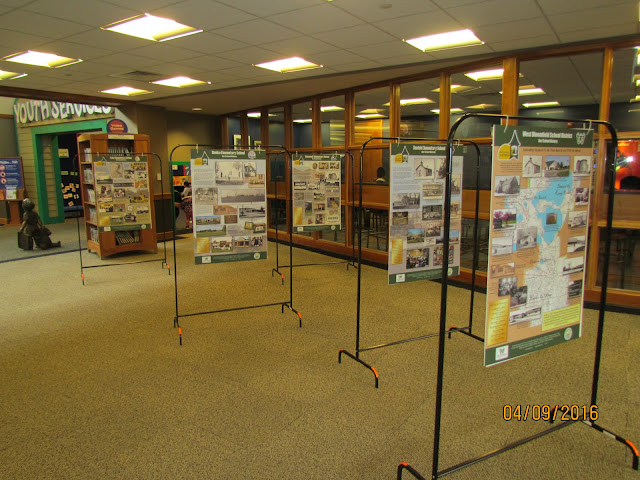 Our School History exhibit panels at the Library.