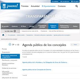 Las agendas de los responsables de las áreas y distritos disponibles en la web