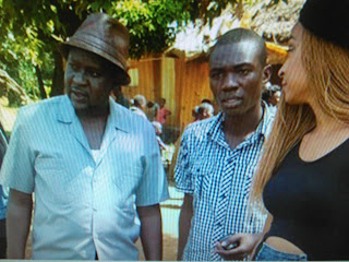 Daniel Ndambuki aka Churchill with Alaine in Kakamega doing a collabo on the Wafula video.