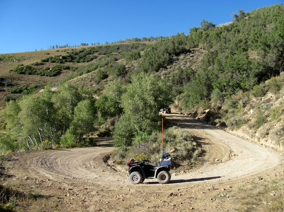 The switchbacks leading down into Scofield