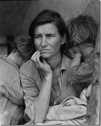 "Dorothea Lange, ""Destitute pea pickers in California. Mother of seven children. Age thirty-two. Nipomo, California,"" 1936"