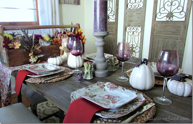 Fall Tablescape using rusty colors and purple