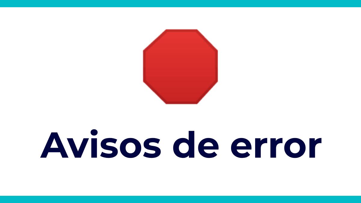 avisos de error tu empresa online