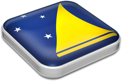 Flag of Tokelau with metallic square frame