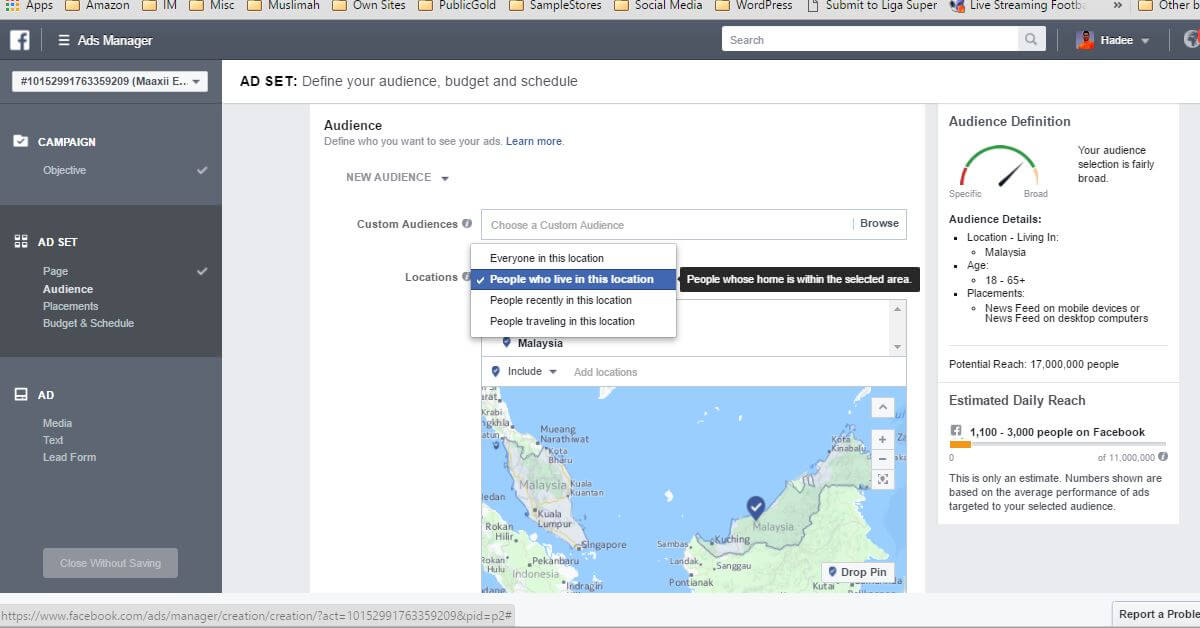 Facebook Ads Ad Set Audience Location