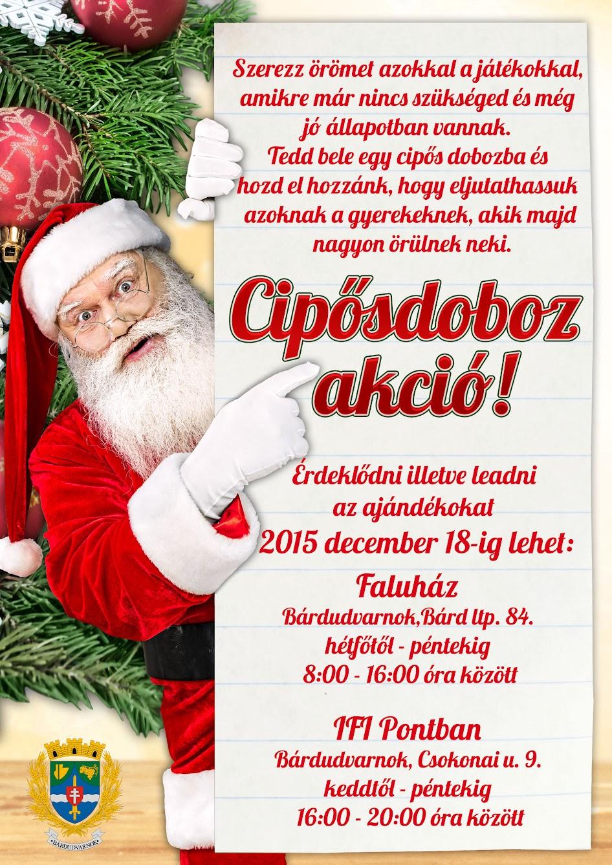 Cipősdoboz karácsonyi akció Bárdudvarnokon 2015.