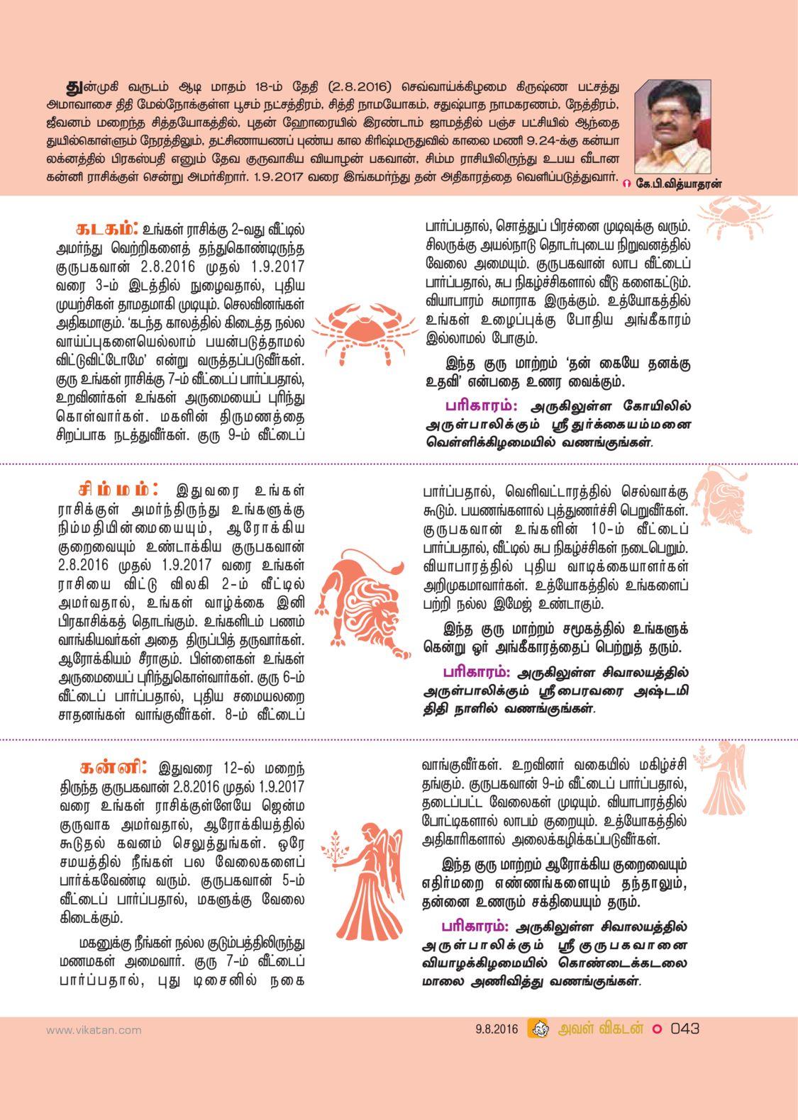 2016 Gurupeyarchi Palan and Pariharam from Aval Vikatan Tamilmagazine