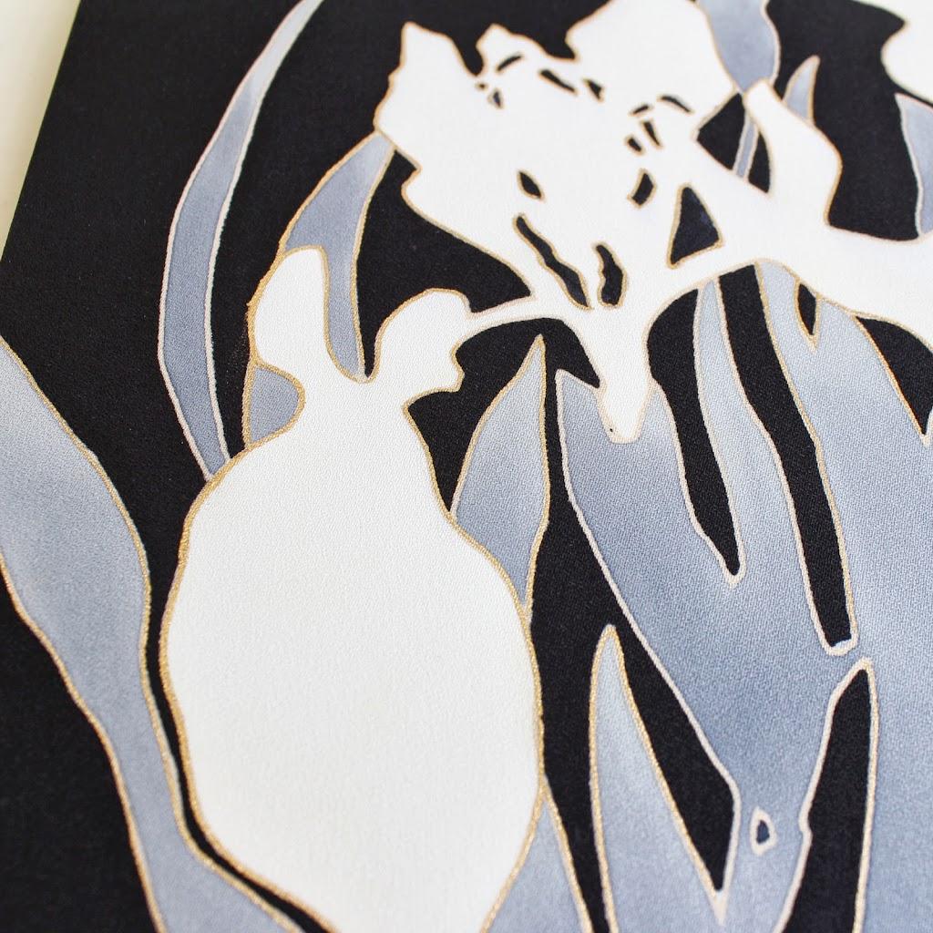 Hand-Painted Kimono Silk Panel - Ayame (black)