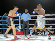 Simon Mokadi in the middle of a previous action. He's schedule to handle a ABU cruiserweight championship on Saturday.