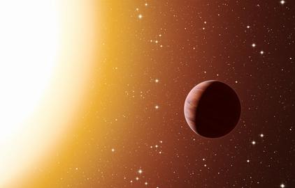 ilustração de um exoplaneta do tipo Júpiter quente