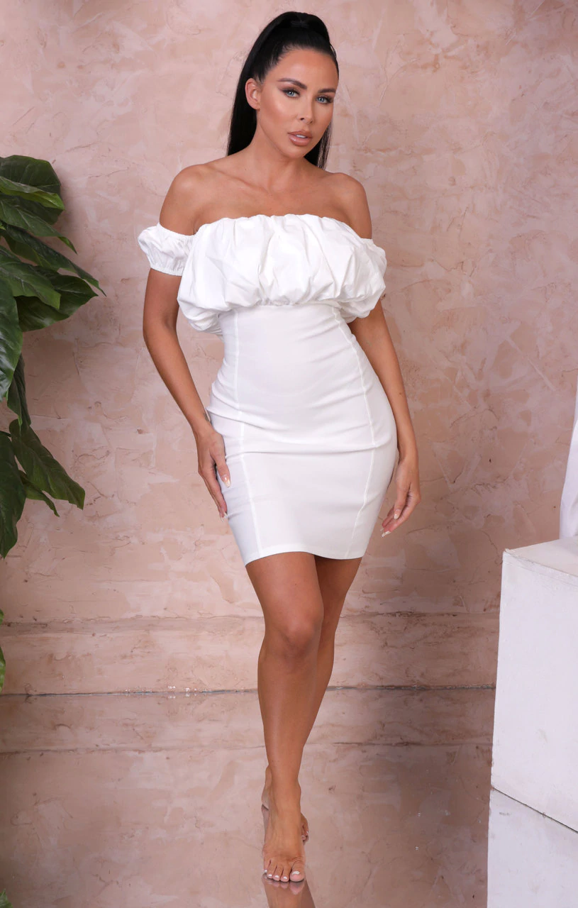 Cream Ruched Sleeve Bardot Bodycon Mini Dress – Maisie
