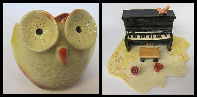 陶藝貓頭鷹與鋼琴