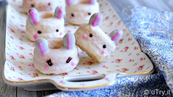 How to Make Mini Bunny Vanilla Bean Doughnuts 小兔子雲呢拿甜甜圈  http://uTry.it