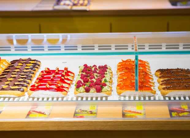 photo of eclairs in a display case
