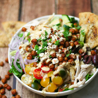 Mediterranean Salad with Crispy Chickpeas and Hummus Dressing