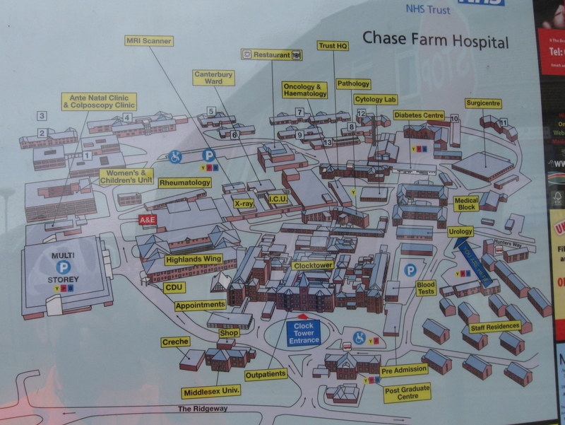 Chase Farm Hospital Map Chase Farm Hospital Map | Color 2018