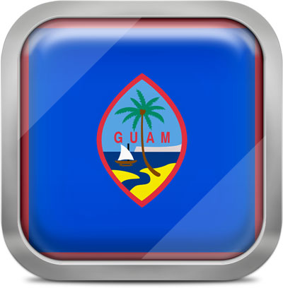 Guam square flag with metallic frame