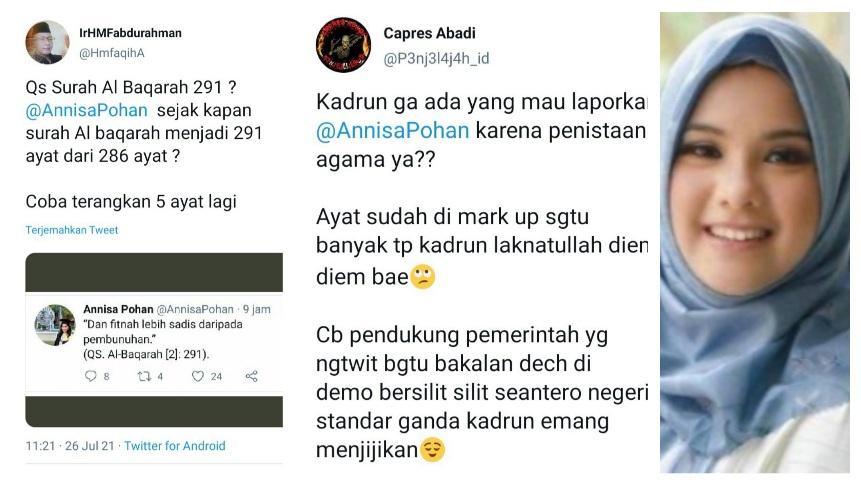 Annisa Pohan Kutip QS. Al Baqorah [2]: 291, Netizen: Ayat Sudah di Mark Up Segitu Banyak, Kadrun Laknatullah Diem-diem Bae